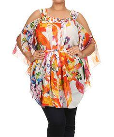 White & Orange Floral Cutout Tunic - Plus by Status Array #zulily #zulilyfinds