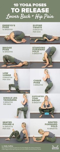 10 yoga exercises to relieve back pain and hip pain at home . - 10 yoga exercises to relieve back pain and hip pain at home! Yoga Poses For Back, Yoga For Back Pain, Cool Yoga Poses, Lower Back Yoga Stretches, Low Back Pain, Yoga To Stretch Back, Exercise For Lower Back, Tailbone Stretches, Lumbar Stretches