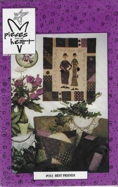 Patchwork Quilt Patterns, Sewing Patterns, Quilting Patterns, Quilted Wall Hangings, Quilted Pillow, Book Crafts, Embroidery Applique, Etsy Store, Best Friends