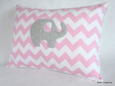 Elephant Nursery Pillow Cover - White and Pink Chevron Flannel & Gray Minky -12x16 Pillow Cover for Baby Girl or Toddler Room, READY TO SHIP