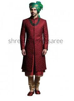 Distinguishable Maroon Kota Silk Sherwani