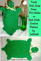 Turtle dish soap cover, potholder and dishcloth crochet pattern by LaStode
