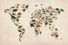 Dinosaur Map of the World Map - Michael Tompsett