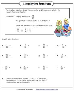 math worksheet : 9 worksheets on simplifying fractions for 6th graders  : Reducing Fractions To Simplest Form Worksheet