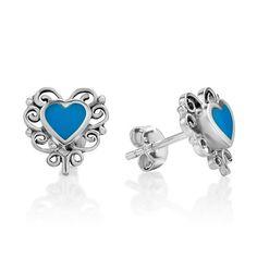 925 Sterling Silver Bali Inspired Blue Stone Filigree Hea...