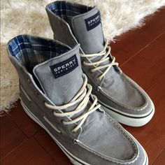 Hightop Sperrys Mens (size 8.5) or Womens (size 9.5) hightop gray sperrys - perfect condition, worn once Sperry Top-Sider Shoes