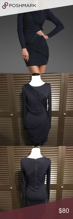 "Alice + Olivia Goddess Long Sleeve Dress Alice + Olivia dress in the Goddess style. It has draped silk sash-like details. Form fitting with a back zipper. Navy blue color. UK size 8 - US size 4 (could fit a 2/4). Excellent preowned condition!  Measurements:  • Pit to pit - 15"" • Waist straight across - 14"" • Length - 33"" Alice & Olivia Dresses Mini"