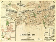 Johannesburg map - Old map of Johannesburg - Fully restored - Vintage maps fine…