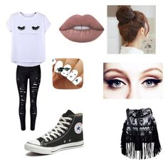 """""""School"""" by beckcaitlin on Polyvore featuring Chicnova Fashion, Converse, Lime Crime, New Look and Pin Show"""