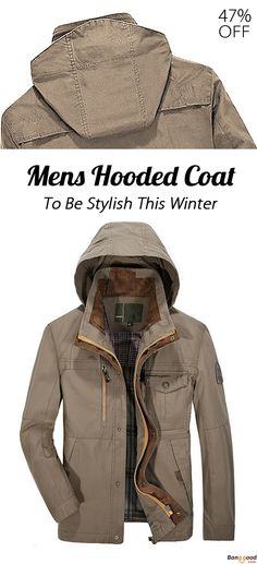 04cf72364bf8 Mens Casual Cotton Hooded Detachable Jacket Winter Outdooors Multi Pocket