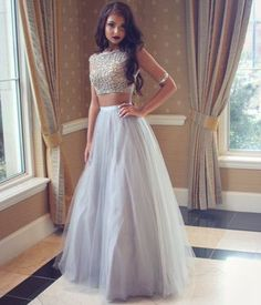 $179.99 2pc Silver Tulle Prom Dress 2016 Simple Tulle Long Evening Gowns 2 pieces Beading Party Gown For Teens