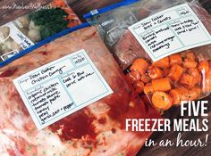 Five Freezer Slow Cooker Meals in an Hour. Includes recipes, grocery list, and tips!
