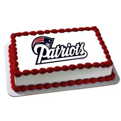Patriots Edible Cake Decoration $9.99    Football Birthday cake photos. The best football cakes on Pinterest and the best football cakes on the web! Football cake ideas such as Football Stadium cakes, football field cakes, football helmet cakes, and football logo cakes. #football #cakes #gifts