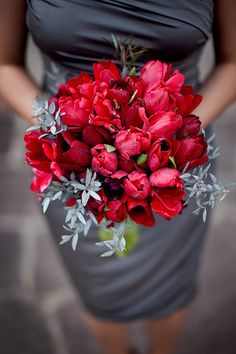 Short Grey Bridesmaid Dress with a Red Bouquet.  I love the color combination! #Bridesmaid #bouquet #wedding