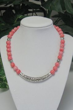 Rhodochrosite, Silver Pewter and Bali Style Tube Bead Necklace - Rhodochrosite Necklace - Pink Rhodochrosite Necklace on Etsy, $69.00