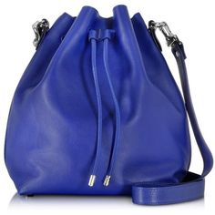 Proenza Schouler Ultramarine Leather Large Bucket Bag ($1,650) ❤ liked on Polyvore featuring bags, handbags, shoulder bags, bolsas, accessories, borse, blue, leather shoulder bag, genuine leather handbags and blue leather shoulder bag