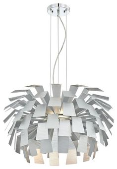 """Mod Brushed Metal Panel 241/2"""" Wide Retro Chandelier - contemporary - chandeliers - Euro Style Lighting"""