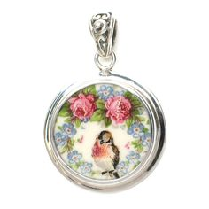 Broken-China-Jewelry-Vintage Clemens Robin and Roses Sterling Circle Pendant