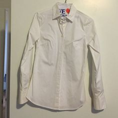 J Crew white collared shirt Classic item! Just went to dry cleaners - perfect condition! Worn once. J. Crew Tops Button Down Shirts
