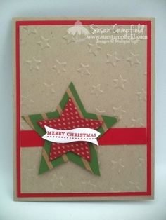 Star Framelits, Lucky Stars embossing folder, Under the Tree DSP - Susan Campfield Christmas Card Crafts, Stampin Up Christmas, Christmas Tag, Christmas Greetings, Holiday Cards, Xmas Cards To Make, Envelopes, Mery Chrismas, Star Cards