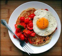 Masa Harina Corn Pancakes w/Tomatoes, Peppers & Eggs