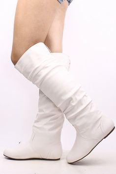 Winter outfits, White knee high boots