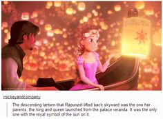 The descending lantern that Rapunzel lifted back skyward was the one her parents, the king and queen, launched from the palace veranda. It was the only one with the royal symbol of the sun on it.
