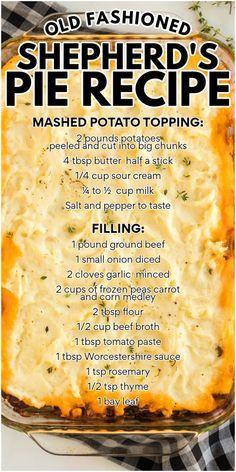 Irish Recipes, Pie Recipes, Dinner Recipes, Cooking Recipes, Retro Recipes, Frugal Recipes, Fondue Recipes, Easy Casserole Recipes, Casserole Dishes