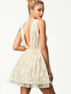 White lace dress, V-back and V-front