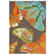 Fly Away Rug in Driftwood (floral Pattern, Rug Sample) | Handmade Area Rugs from Company C