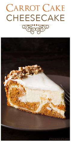 Cake Cheesecake - Cooking Classy Carrot Cake Cheesecake - this is TO DIE FOR! Two of my favorite cakes in one!Carrot Cake Cheesecake - this is TO DIE FOR! Two of my favorite cakes in one! Carrot Cake Cheesecake, Cheesecake Recipes, Dessert Recipes, Ricotta Cheesecake, Coffee Cheesecake, Just Desserts, Delicious Desserts, Yummy Food, Nake Cake