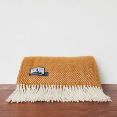 watershed newquay fistral wool blanket mustard