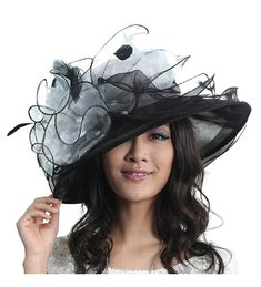 d45db8c3c23 Summer Hats Elegant Flower for Women Wide Brim Sun Hat Organza Black  CG11OIBHCHN