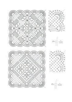 Granny Square Crochet Pattern, Crochet Squares, Crochet Granny, Crochet Stitches, Bobbin Lace Patterns, Crochet Patterns, Bobbin Lacemaking, Square Patterns, Needle Lace