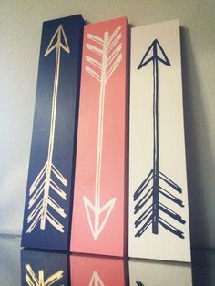 Vintage Arrows  Set of 3 // Navy Coral Gold by BlueTimberSignCo