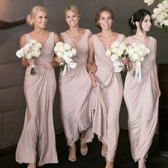 Sheath Deep V-Neck Floor-Length Blush Elastic Satin Bridesmaid Dress