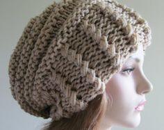 Slouchy Beanie sombrero de Slouch de gran tamaño holgado boina para mujer caída accesorio de invierno Color Beige Super grueso hecho punto de la