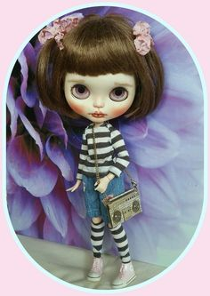 Blythe doll denim outfit and top, socks, and tape recorder themed necklace
