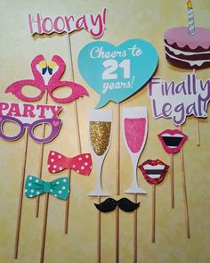 Trendy Ideas For Birthday Ideas Turning 21 Awesome 21st Birthday Decorations, 21st Birthday Gifts, Birthday Crafts, Birthday Parties, Birthday Nails, Happy Birthday, 21st Bday Ideas, 21st Birthday Ideas For Girls Turning 21, Diy Photo Booth Props
