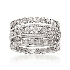 Set of Three Sterling Silver Eternity Bands With .60 ct. t.w. White Topaz and .10 ct. t.w. Diamonds