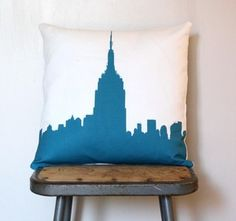 empire state building silhouette printed onto a linen/cotton cushion