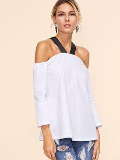 Cuff(Cm): XS:23.2cm, S:24.2cm, M:25.2cm, L:26.2cm Size Available: XS,S,M,L Bicept Length(Cm): XS:30cm, S:31cm, M:32cm, L:33cm Type: Tunic Fabric: Fabric has no stretch Season: Fall Pattern Type: Color Block Sleeve Length: Long Sleeve Color: White Material: 100% Cotton Style: Elegant Collar: Cold Shoulder Bust(Cm): XS:90cm, S:94cm, M:98cm, L:102cm Length(Cm): XS:51.5cm, S:52.5cm, M:53.5cm, L:54.5cm Sleeve Length(Cm): XS:41cm, S:42cm, M:43cm, L:44cm