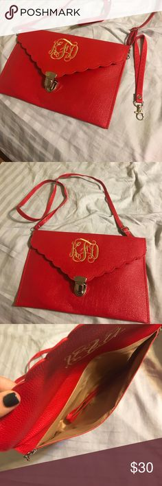 Monogrammed Red Cross body Red with gold monogramming. Can be turned into a wristlet. Bags Mini Bags