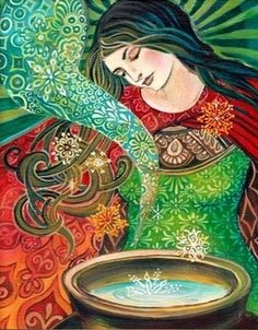 Brigantia is the Celtic goddess of the rivers and rural life.  Her dominion over the rivers allows her to use their waters for therapeutic purposes. Brigantia is of a relaxed, peaceful nature. She rejoices in the slower, quieter ways of the country folk, and never ventures into large towns or cities.