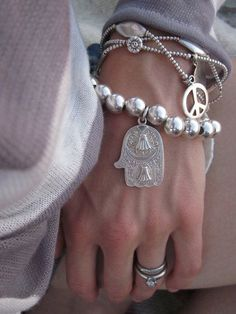 Silver bracelets with hamsa and peace sign charms. Jewelry Accessories, Fashion Accessories, Jewelry Design, Fashion Jewelry, Boho Gypsy, Bohemian Jewelry, Tribal Jewelry, Silver Jewellery, Silver Bangle Bracelets