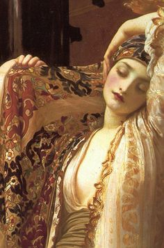 Traveling through history of Art...Light of the Harem, by Frederic Leighton, 1880.