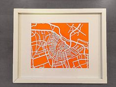 Hand cut paper map of Amsterdam, NL streets | 8x10""