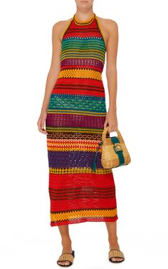 This **Spencer Vladimir** Tulum Halter Dress features a bright multi colored variegated stripe, knit construction, and an A-line silhouette. Crochet Blouse, Knit Crochet, Colorful Fashion, Boho Fashion, Crochet Designs, Crochet Patterns, Mode Crochet, Beautiful Crochet, Crochet Clothes