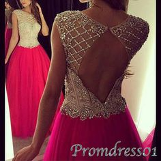 Modest prom dress, ball gown, beautiful hot pink tulle long prom dress for teens