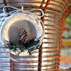 """After finding a bag of forgotten curtain rings, I transformed them into Christmas ornaments. All part of my """"Use what you have and what you find in nature"""" holi…"""